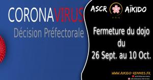 COVID 19 : Arrêté Préfectoral, fermeture des dojos sur Rennes Métropôle